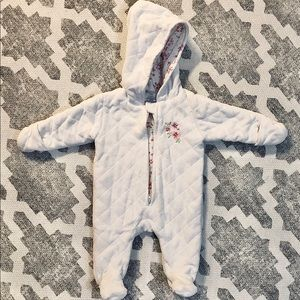 LAURA ASHLEY White Quilted Snowsuit 0-3 Month